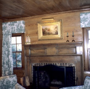 Interior view with fireplace, Faucette House (Chatwood), Orange County, North Carolina