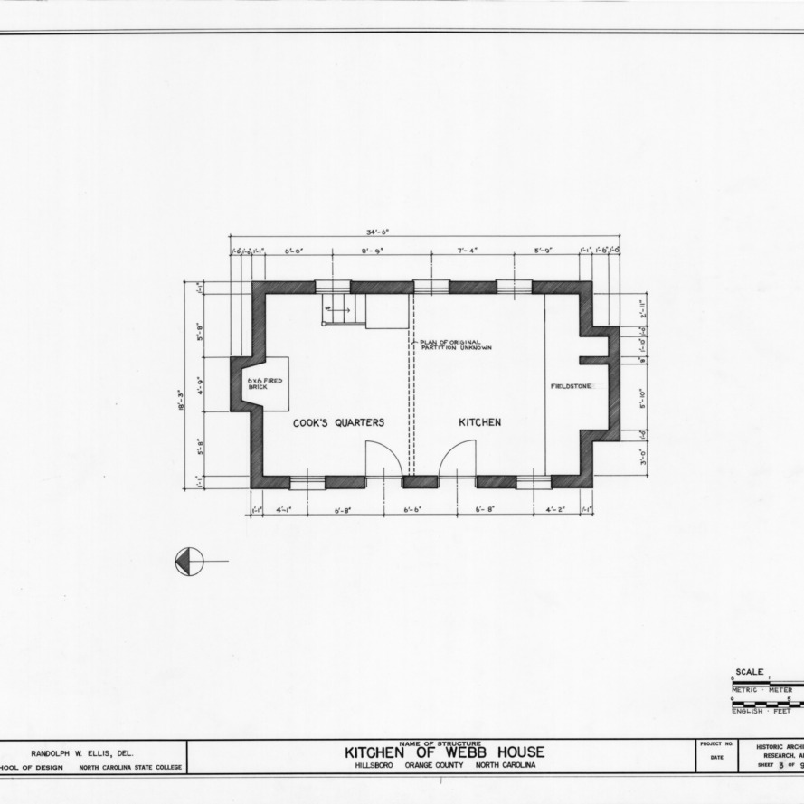 Floor plan, Hill-Webb House Kitchen, Hillsborough, North Carolina