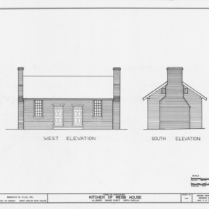 West and south elevations, Hill-Webb House Kitchen, Hillsborough, North Carolina