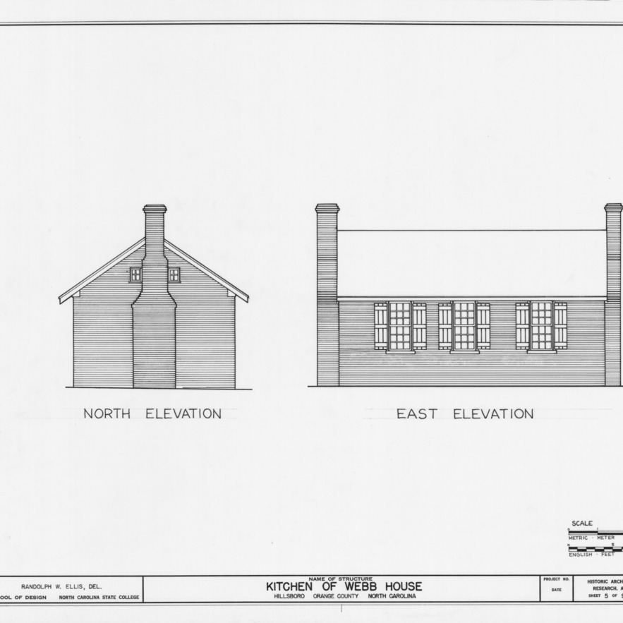 North and east elevations, Hill-Webb House Kitchen, Hillsborough, North Carolina