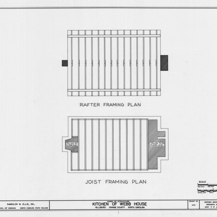 Framing plans, Hill-Webb House Kitchen, Hillsborough, North Carolina
