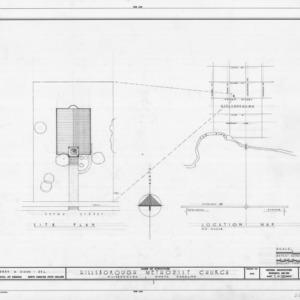 Site plan and location map, Hillsborough Methodist Church, Hillsborough, North Carolina