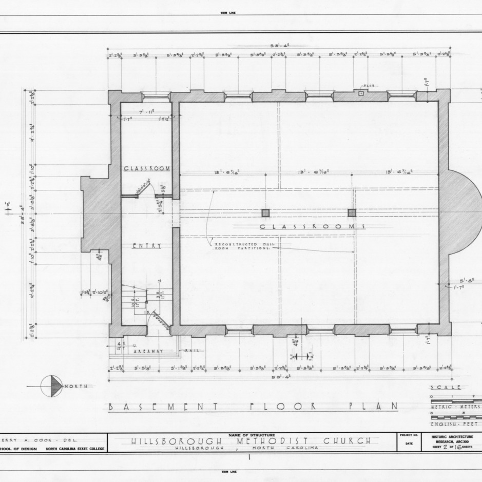 Basement plan, Hillsborough Methodist Church, Hillsborough, North Carolina