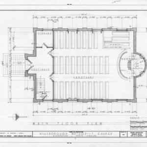 First floor plan, Hillsborough Methodist Church, Hillsborough, North Carolina