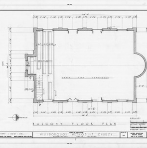 Balcony plan, Hillsborough Methodist Church, Hillsborough, North Carolina