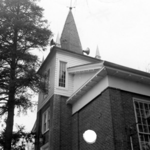 Partial view with steeple, Hillsborough Methodist Church, Hillsborough, North Carolina