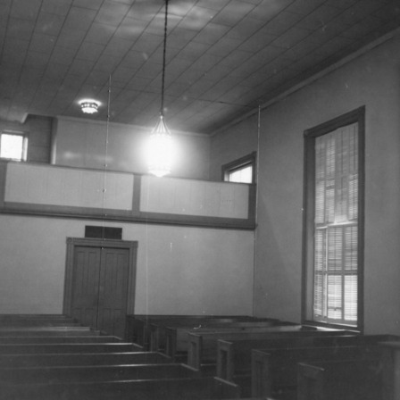 Interior view with gallery, Hillsborough Methodist Church, Hillsborough, North Carolina