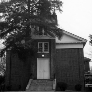 Front view with steeple, Hillsborough Methodist Church, Hillsborough, North Carolina