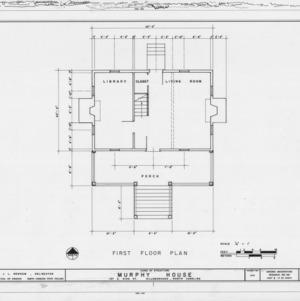 First floor plan, Seven Hearths, Hillsborough, North Carolina