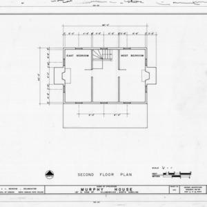 Second floor plan, Seven Hearths, Hillsborough, North Carolina