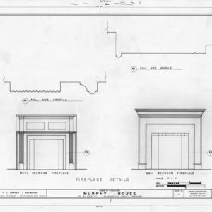 Fireplace details, Seven Hearths, Hillsborough, North Carolina