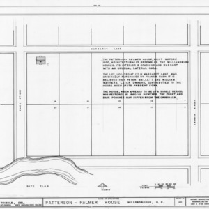 Site plan and notes, Walker-Palmer House, Hillsborough, North Carolina