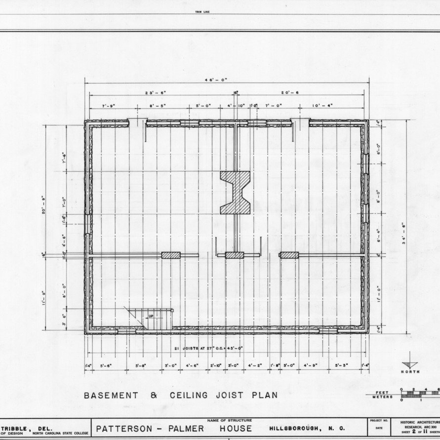 Basement plan, Walker-Palmer House, Hillsborough, North Carolina