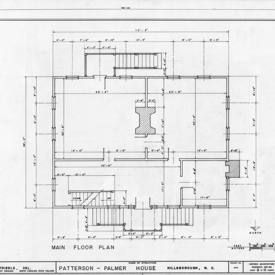 First floor plan, Walker-Palmer House, Hillsborough, North Carolina