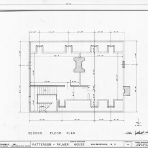 Second floor plan, Walker-Palmer House, Hillsborough, North Carolina