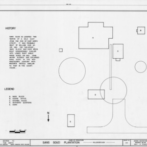 Site plan with notes, Sans Souci, Hillsborough, North Carolina