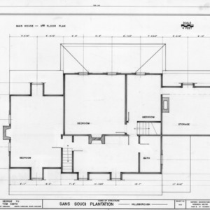Second floor plan, Sans Souci, Hillsborough, North Carolina