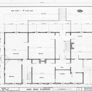 First floor plan, Sans Souci, Hillsborough, North Carolina