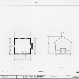 Office plan and cross section, Sans Souci, Hillsborough, North Carolina