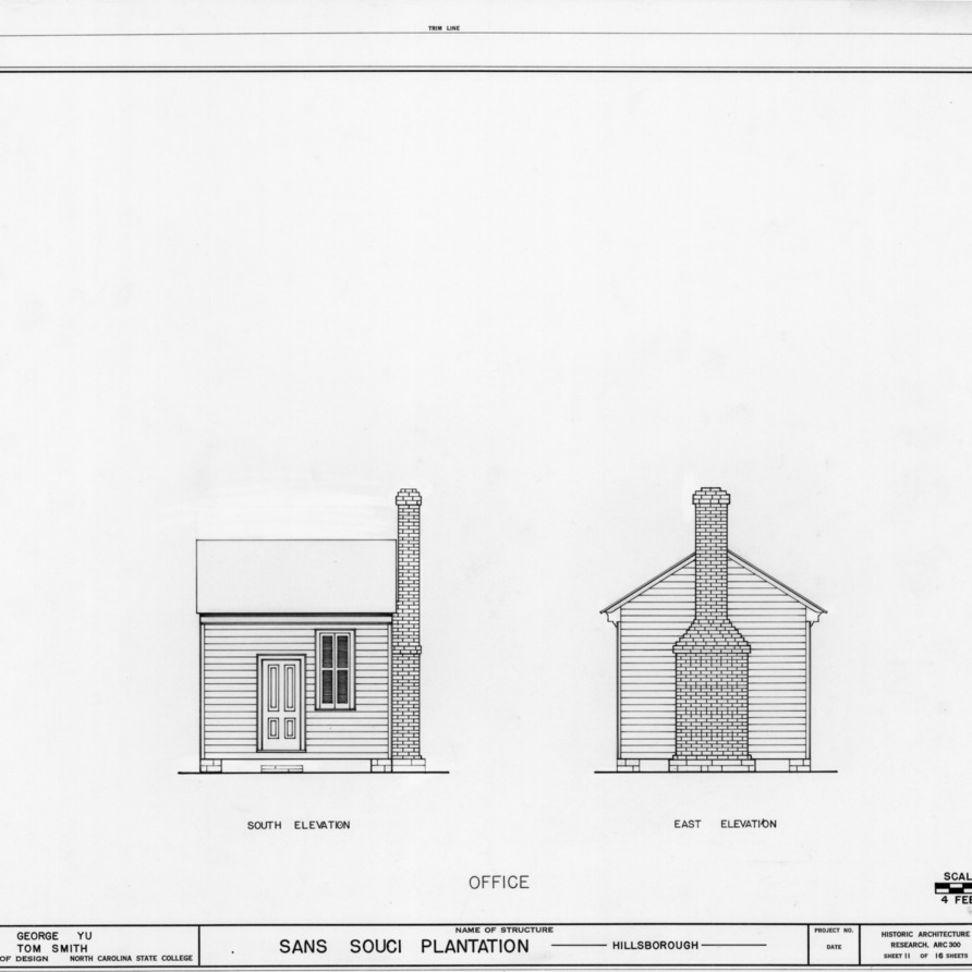 South and east elevations of office, Sans Souci, Hillsborough, North Carolina