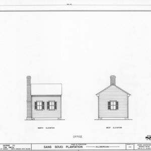 North and west elevations of office, Sans Souci, Hillsborough, North Carolina