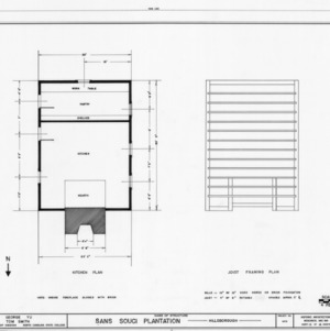 Kitchen floor plan and framing plan, Sans Souci, Hillsborough, North Carolina