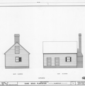 South and east elevations of kitchen, Sans Souci, Hillsborough, North Carolina
