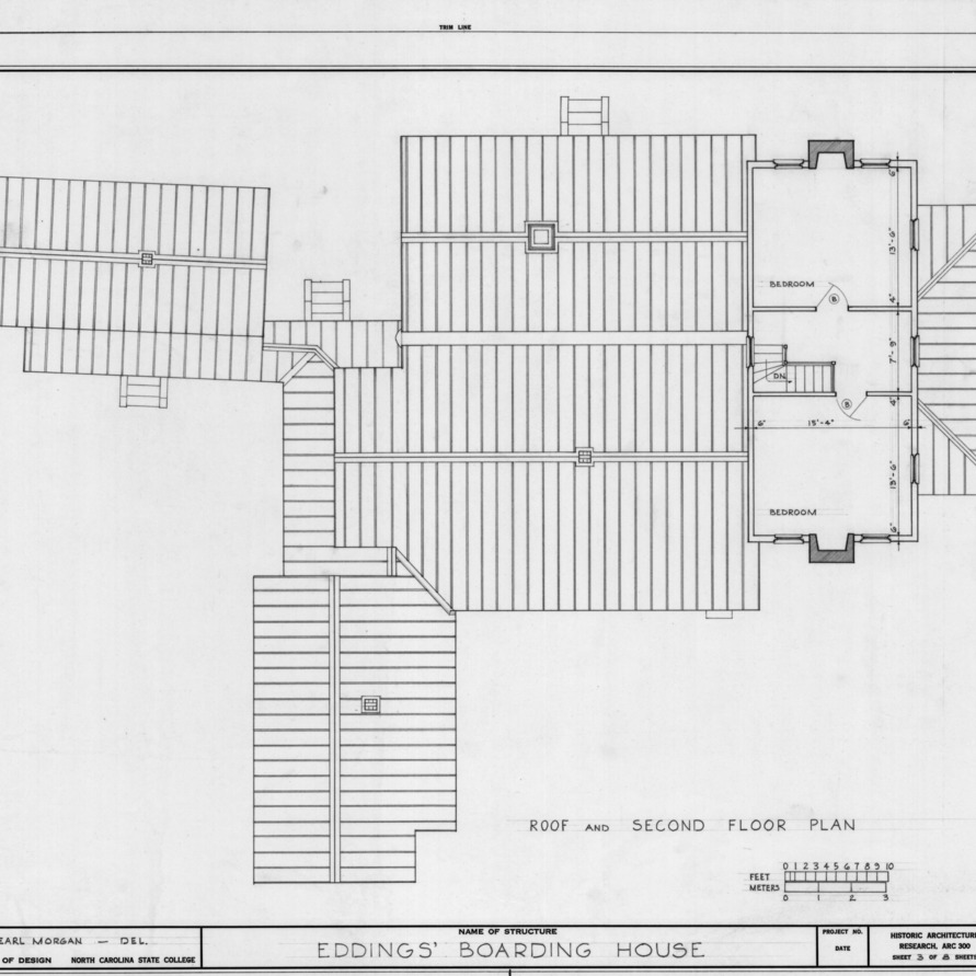 Second floor and roof plans, Eddins House, Palmerville, North Carolina