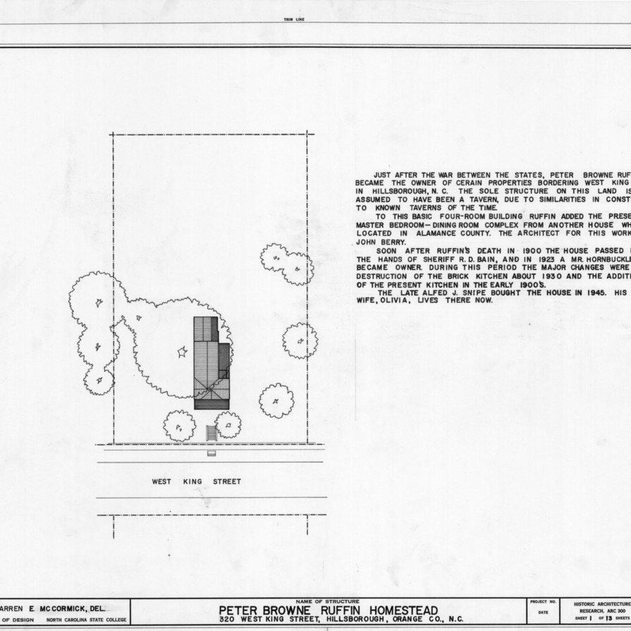 Site plan and notes, Ruffin-Snipes House, Hillsborough, North Carolina