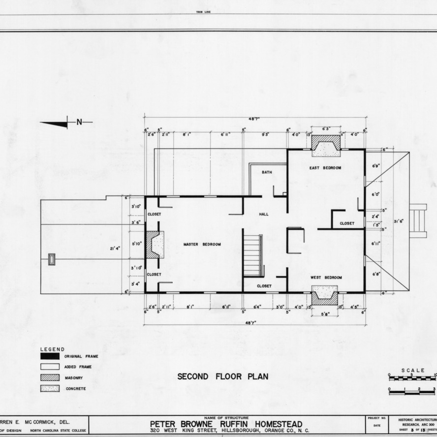 Second floor plan, Ruffin-Snipes House, Hillsborough, North Carolina