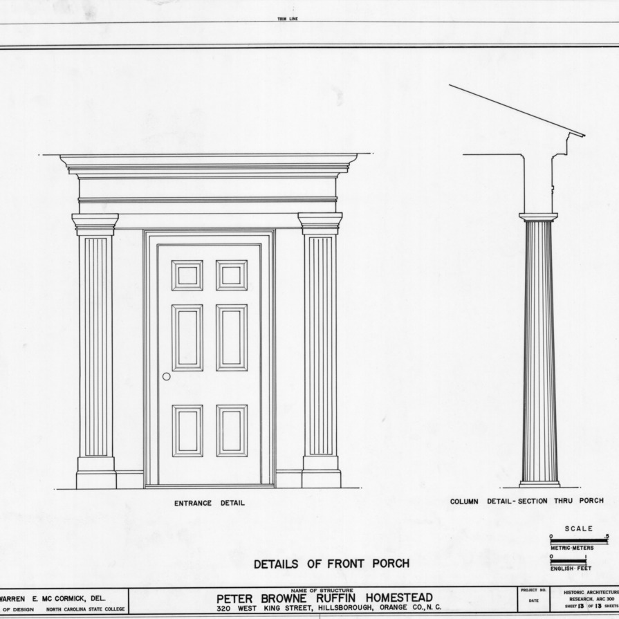 Front door and column details, Ruffin-Snipes House, Hillsborough, North Carolina