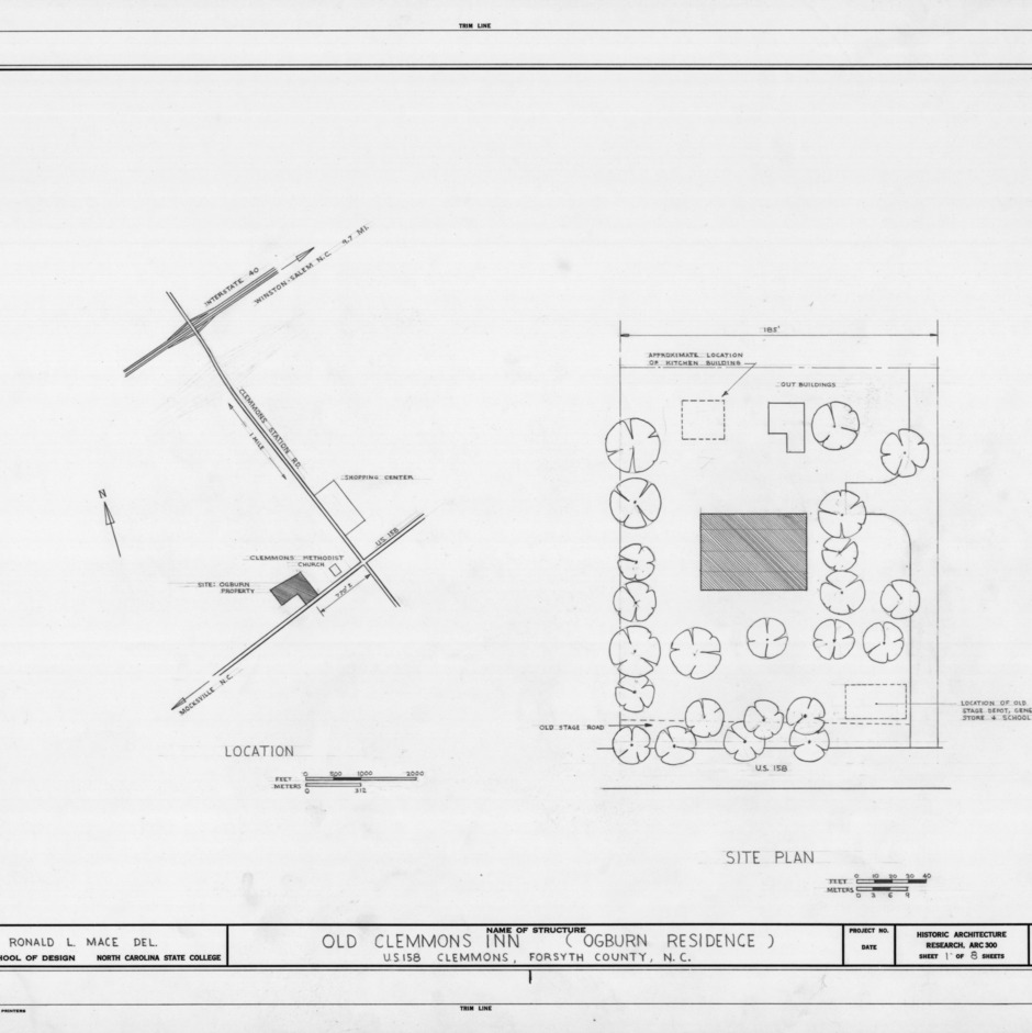 Site plan, Peter Clemmons House, Clemmons, North Carolina