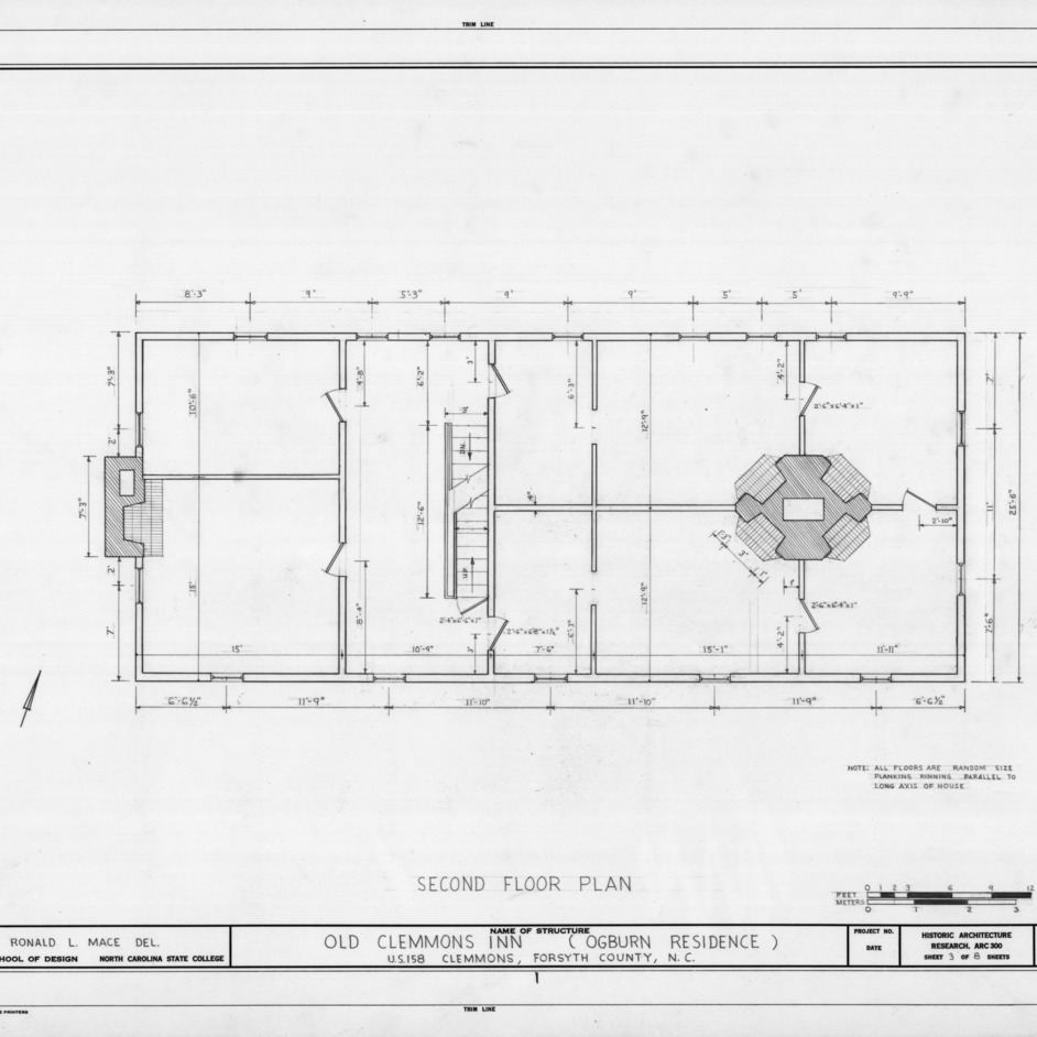 Second floor plan, Peter Clemmons House, Clemmons, North Carolina