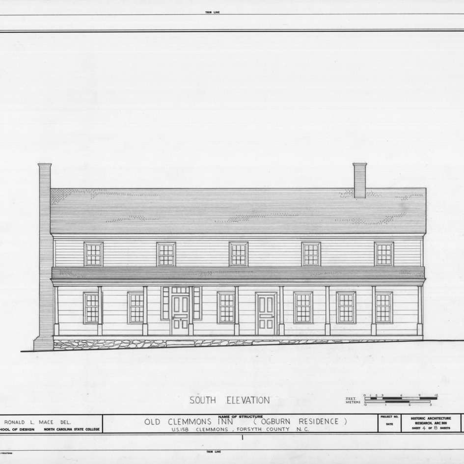 South elevation, Peter Clemmons House, Clemmons, North Carolina