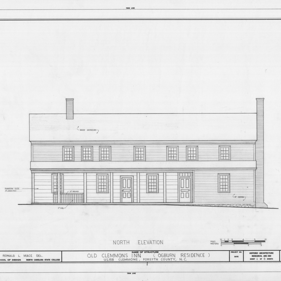 North elevation, Peter Clemmons House, Clemmons, North Carolina