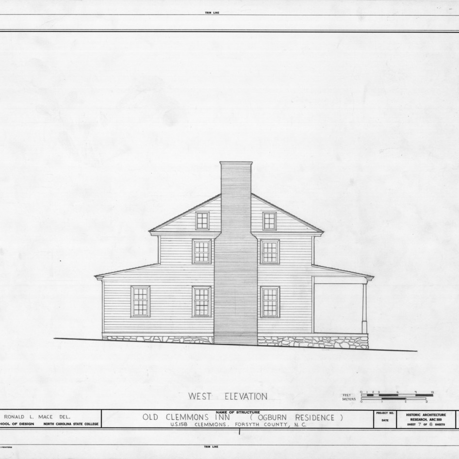 West elevation, Peter Clemmons House, Clemmons, North Carolina