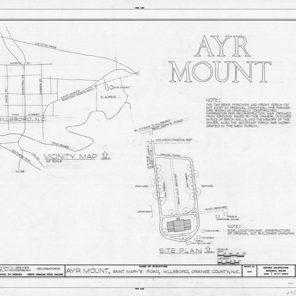 Title page with site plan and notes, Ayr Mount, Hillsborough, North Carolina