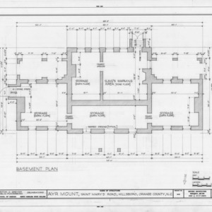 Basement plan, Ayr Mount, Hillsborough, North Carolina