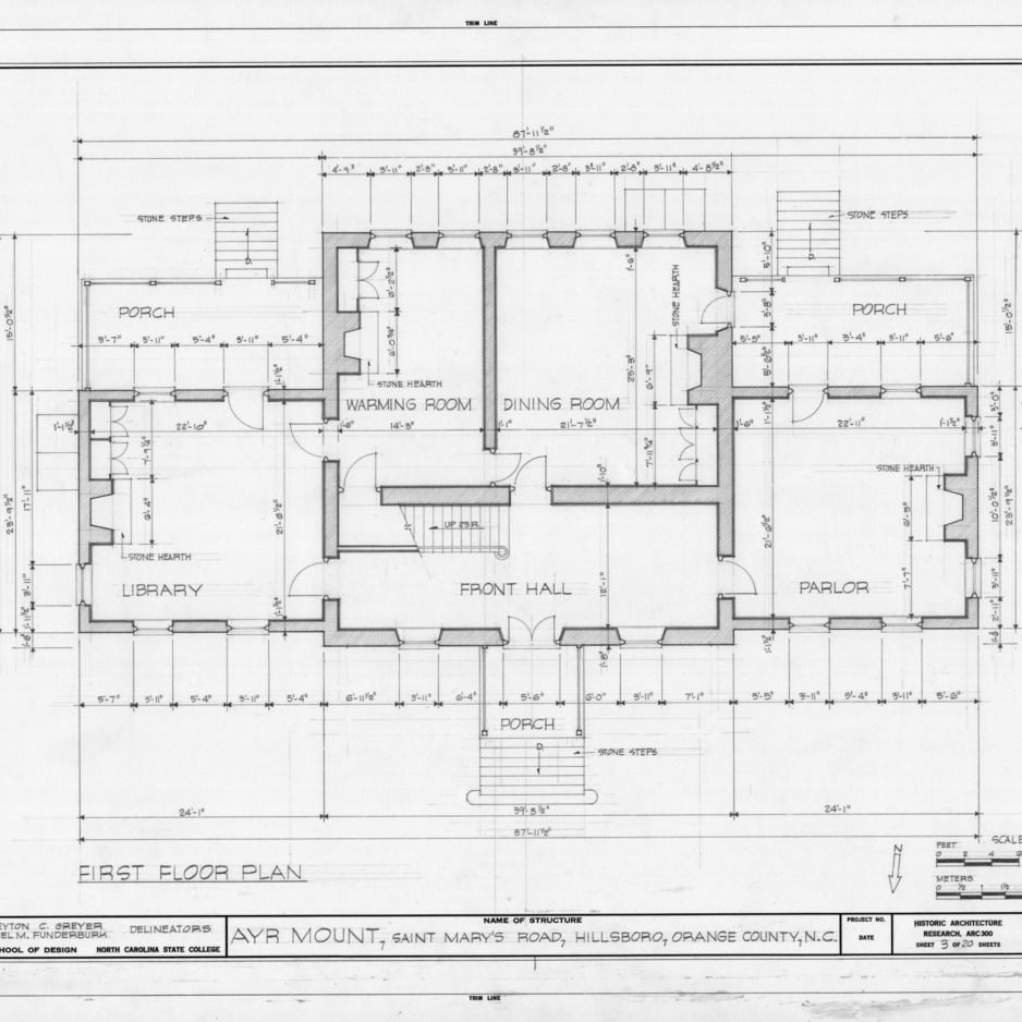 First floor plan, Ayr Mount, Hillsborough, North Carolina