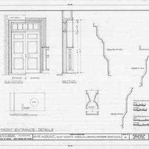 Front entrance details, Ayr Mount, Hillsborough, North Carolina