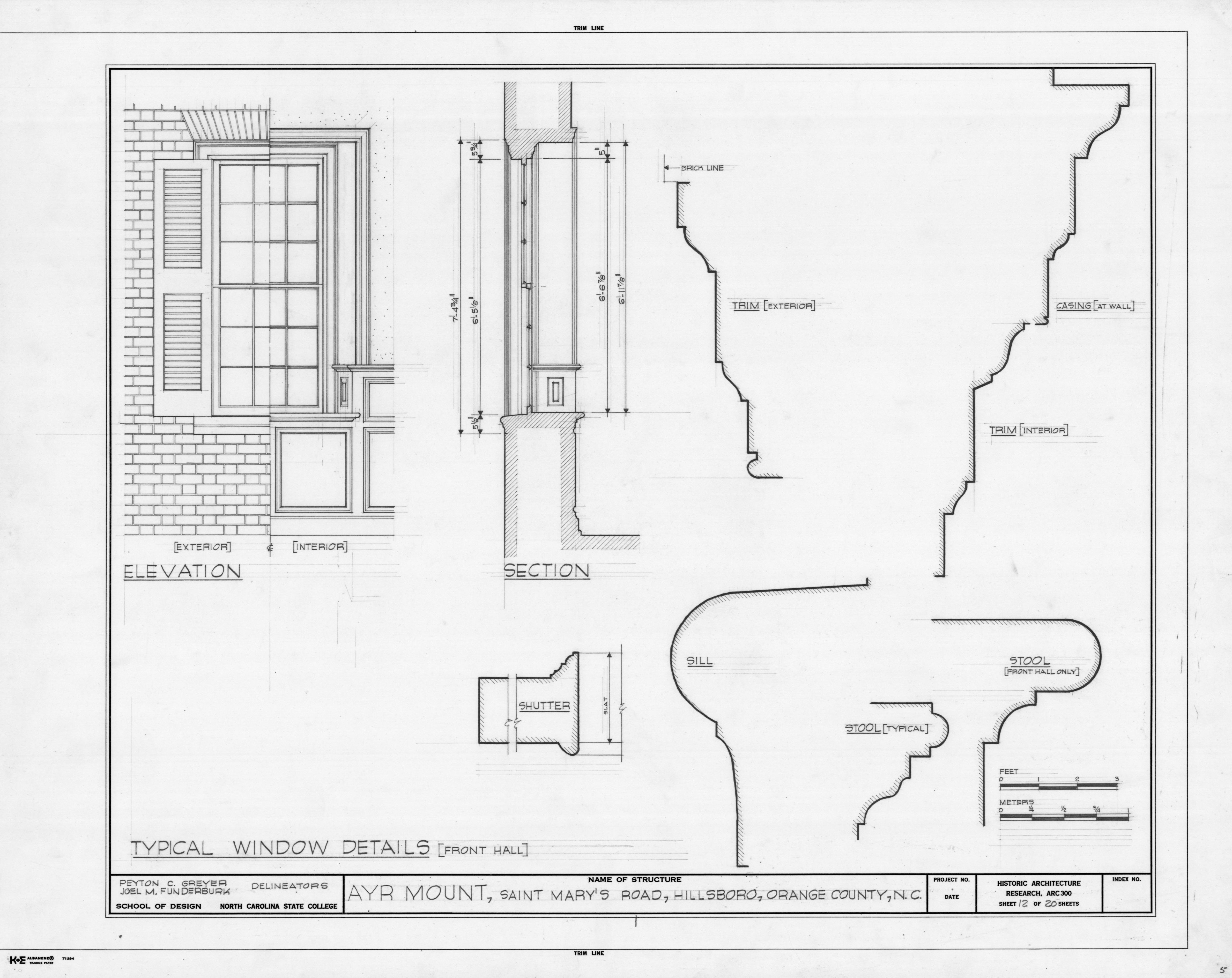 Window details ayr mount hillsborough north carolina for Bay window plan detail