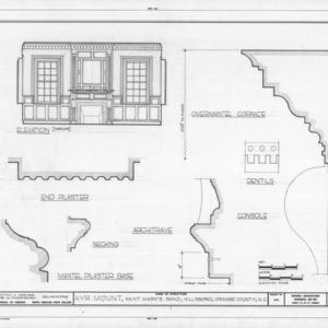 Parlor interior elevation and details, Ayr Mount, Hillsborough, North Carolina