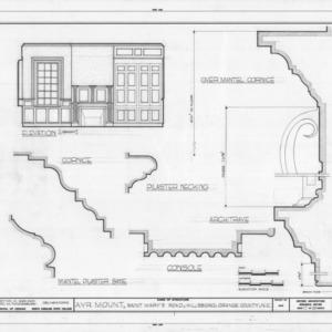 Library interior elevation and details, Ayr Mount, Hillsborough, North Carolina