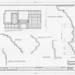 Master bedroom interior elevation and details, Ayr Mount, Hillsborough, North Carolina