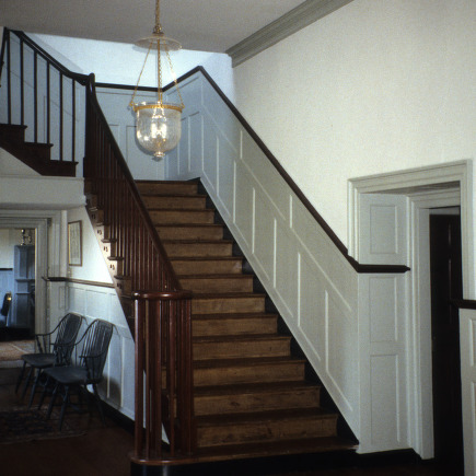Interior view with stairs, Ayr Mount, Hillsborough,  Orange County, North Carolina