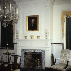 Interior view with fireplace, Ayr Mount, Hillsborough,  Orange County, North Carolina