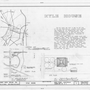 Title page with location map, site plan, and notes, Kyle House, Fayetteville, North Carolina