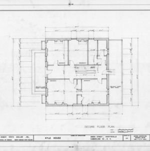 Second floor plan, Kyle House, Fayetteville, North Carolina