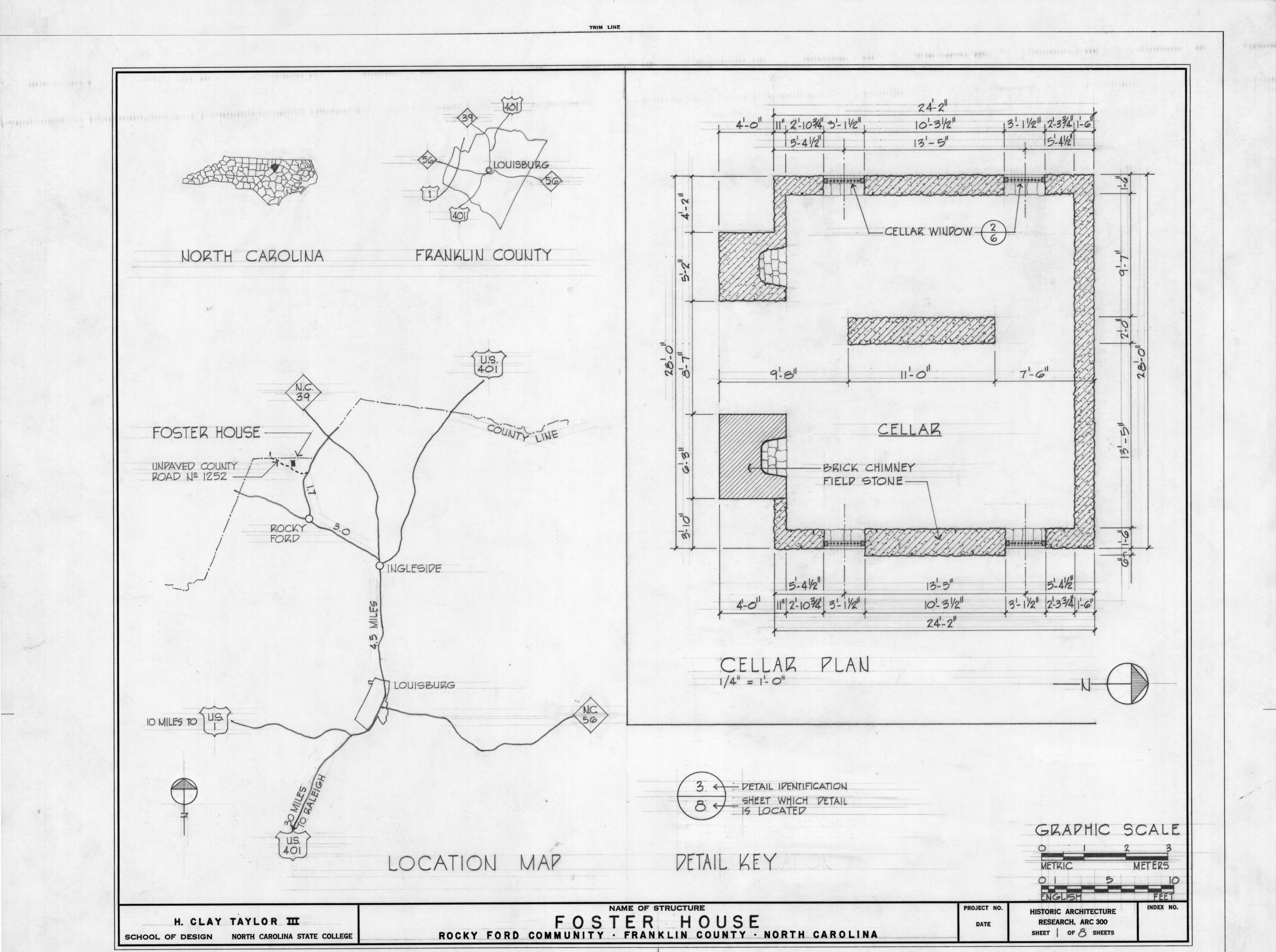 Location map and cellar plan, Solomon Ruffin Perry House, Franklin County, North Carolina