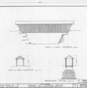 Elevations and cross section, Bunker Hill Covered Bridge, Catawba County, North Carolina